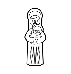 Virgin mary holding baby jesus christian and vector