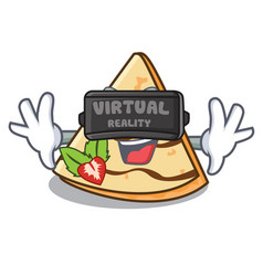 Virtual reality crepe mascot cartoon style vector