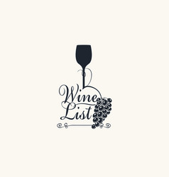 wine list with a wine glass and grapes vector image