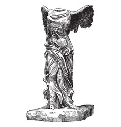 Winged victory samothrace is a marble vector