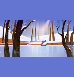 Winter landscape with frozen lake in forest vector