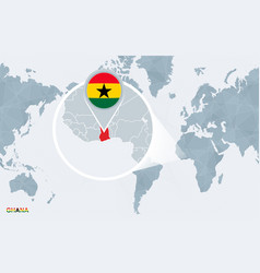 World map centered on america with magnified ghana vector