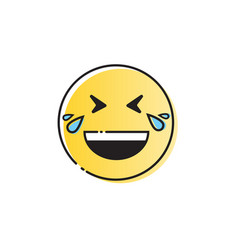 Yellow smiling cartoon face laugh positive people vector