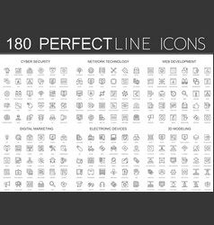 180 modern thin line icons set of cyber security vector