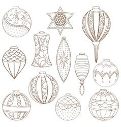 Christmas and New Year ball set vector image