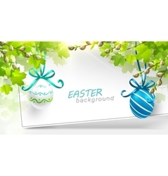 Easter decoration with leaves vector image