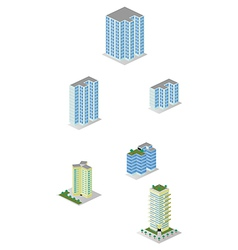 Isometric City Apartment Buildings Pack vector image