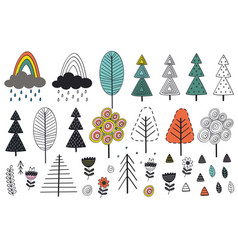 set of isolated tree and elements in scandinavian vector image vector image