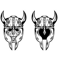 skull in helmet with horns vector image vector image