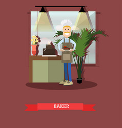 baker in flat style vector image vector image