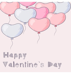 A lot of hand drawn heart balloons flying vector