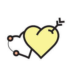 arrow on two heart icon yellow vector image vector image