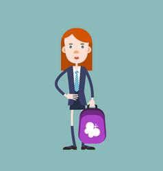schoolgirl with a backpack going to school vector image