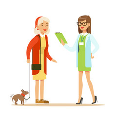 smiling woman and her small dog at the veterinary vector image vector image