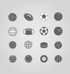 sport ball silhouettes collection set isolated on vector image vector image