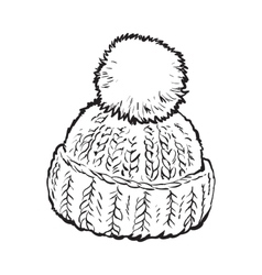 Bright winter knitted hat with pompon vector image vector image