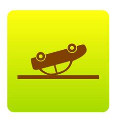 crashed car sign brown icon at green vector image vector image