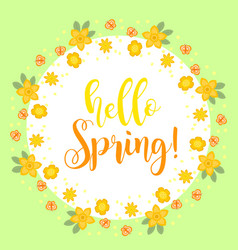 Hello spring floral frame for text isolated on vector