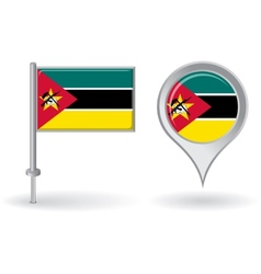Mozambique pin icon and map pointer flag vector image
