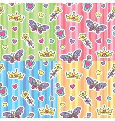 princess patterns set vector image vector image