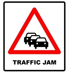 Road Sign Warning Traffic Congestion on White vector image