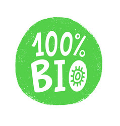 100 percent bio badge sign vector