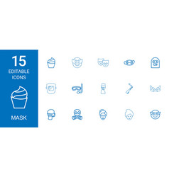 15 mask icons vector