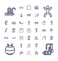 37 fitness icons vector