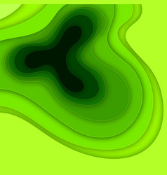 abstract background with green paper cut shapes vector image