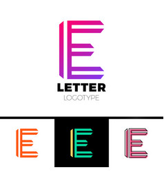 abstract letter e logo design template line vector image