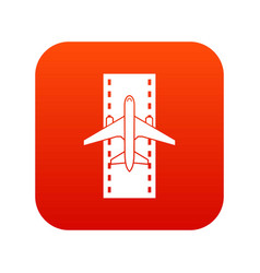 airplane on the runway icon digital red vector image