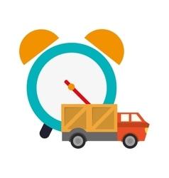 Alarm clock and truck van icon vector