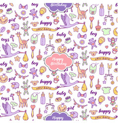 Baby happy birthday doodle and lettering seamless vector