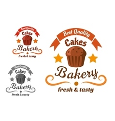 Bakery or pastry shop sign with chocolate cake vector