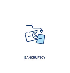 Bankruptcy concept 2 colored icon simple line vector