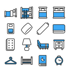 bedroom icon set thin line stylepixel perfect vector image