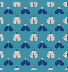 Bee and firefly seamless pattern vector