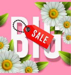 Big sale lettering design background with daisy vector