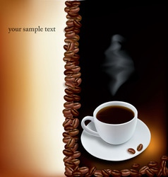 brown desing with cup of coffee and beans vector image vector image