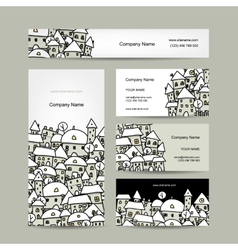 Business cards design winter cityscape sketch vector image