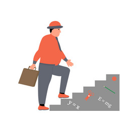 business man walking up stairs businessman career vector image