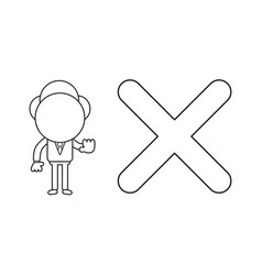 Businessman character with x mark and showing vector