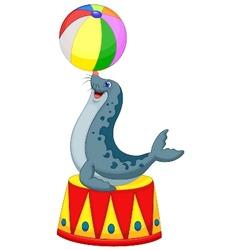 Cartoon Circus seal playing a ball vector