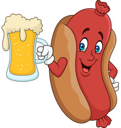 cartoon hotdog drinking beer vector image