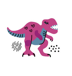 cartoon little dinosaur cute dino color hand vector image