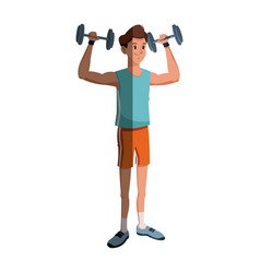 cartoon man holding dumbbell design graphic vector image