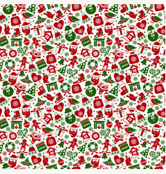 Christmas seamless pattern of icons vector