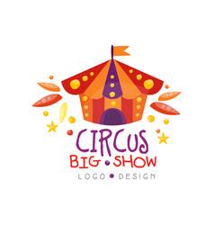 circus big show logo design carnival festive vector image