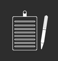 Clipboard pencil icon white vector
