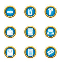 Closeout icons set flat style vector